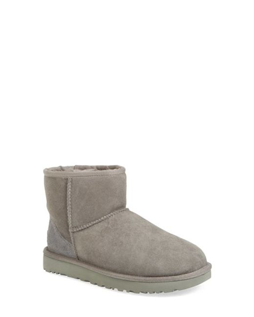 ugg ugg 39 classic mini ii 39 genuine shearling lined boot in grey lyst. Black Bedroom Furniture Sets. Home Design Ideas