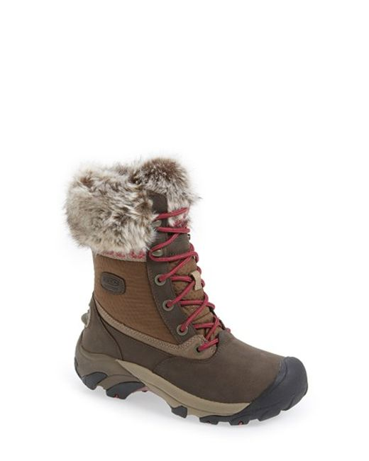 Keen | Brown 'hoodoo Iii Low' Faux Fur Trim Waterproof Boot | Lyst