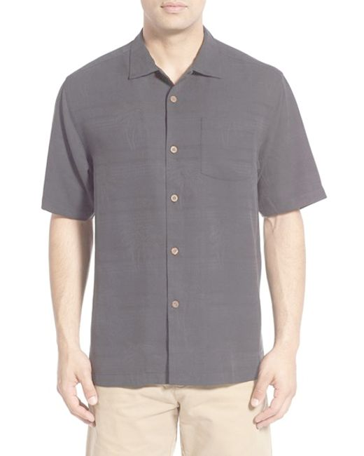 Tommy Bahama 39 Horizontal Palms 39 Silk Camp Shirt In Black