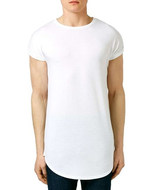 topman cap sleeve longline t shirt in white for men lyst