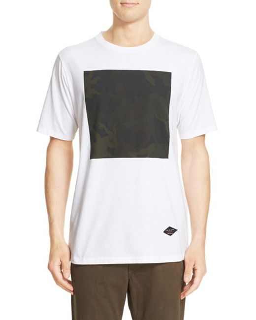 Rag bone camo graphic t shirt in white for men lyst for Rag and bone mens shirts sale