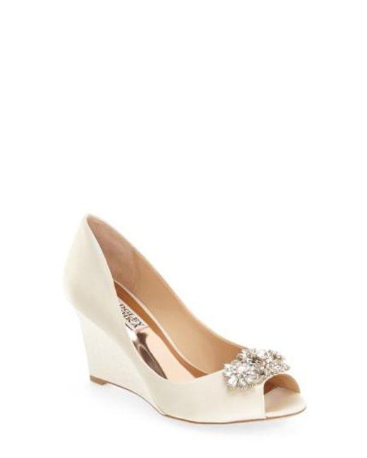 Badgley Mischka | Multicolor 'dara' Crystal-encrusted Peep-toe Wedge | Lyst