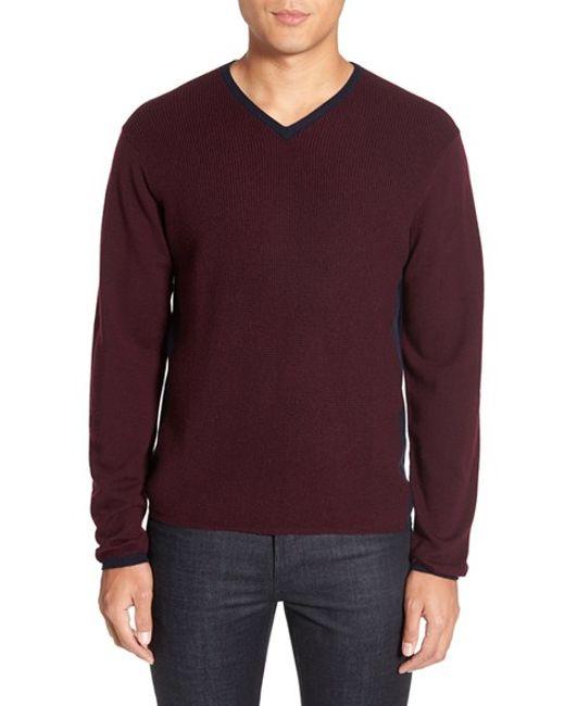 Zachary Prell | Purple V-neck Colorblock Merino Wool Pullover for Men | Lyst