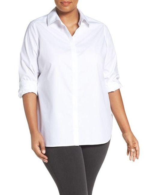 Foxcroft 39 vanessa 39 no iron cotton shirt in white lyst for No iron cotton shirts