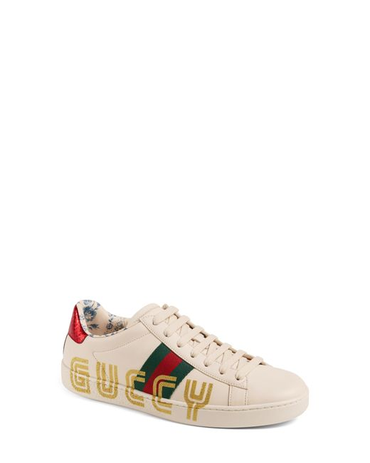 12101d58df5 Gucci - White New Ace Guccy Logo Sneaker With Genuine Snakeskin Trim - Lyst
