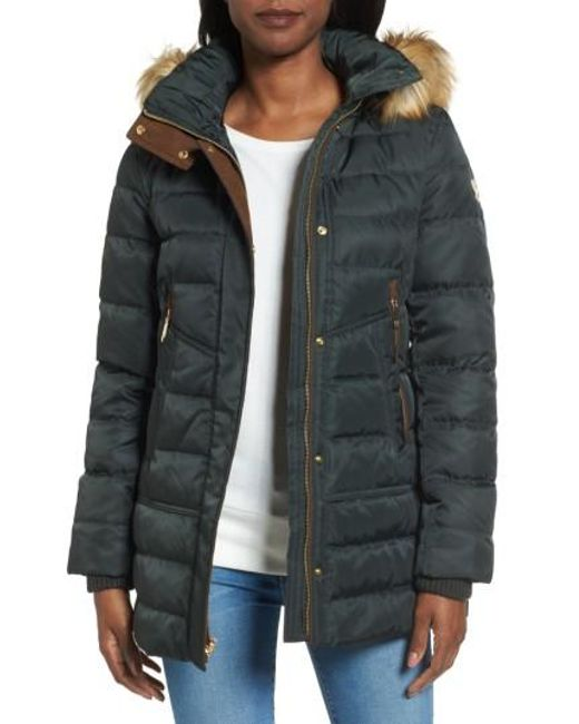 Vince Camuto | Black Quilted Coat With Faux Fur Trim Hood | Lyst