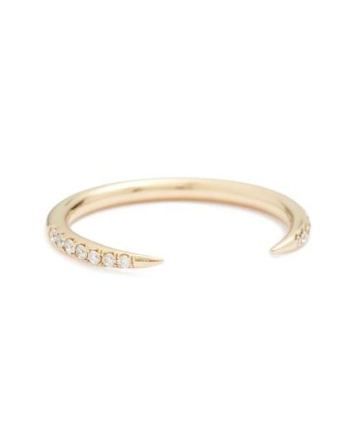 Wwake | Metallic 'micropave Open Slice' White Diamond Ring | Lyst