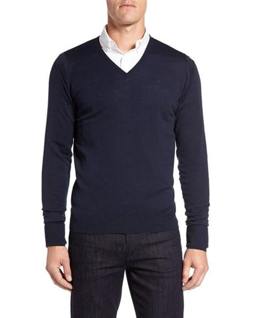 John Smedley | Blue 'bobby' Easy Fit V Neck Wool Sweater for Men | Lyst