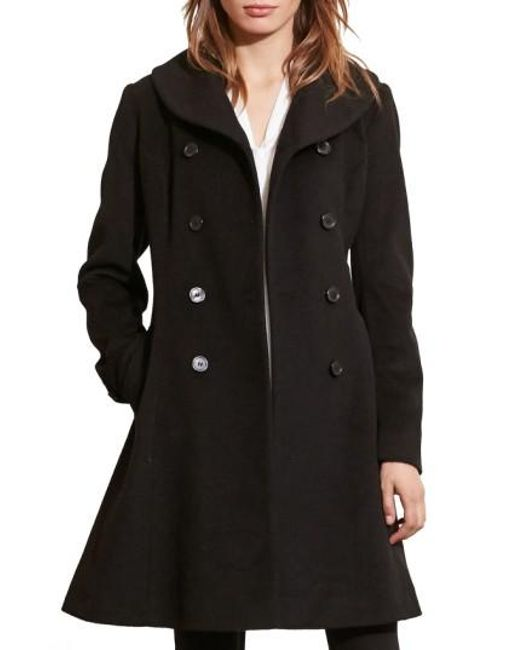 Lauren by Ralph Lauren | Black Fit & Flare Military Coat | Lyst