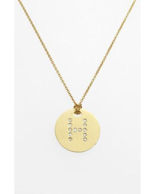 Roberto Coin   Metallic 'tiny Treasures' Diamond Initial Disc Pendant Necklace   Lyst