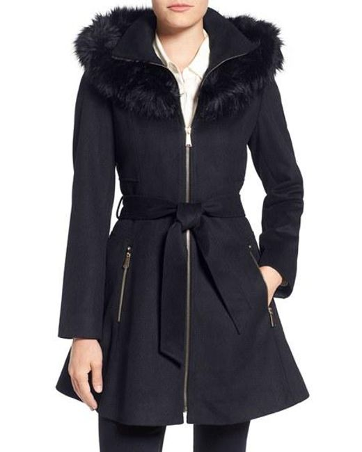 Laundry by Shelli Segal | Blue Laundry By Shelly Segal Faux Fur Trim Wool Blend Fit & Flare Coat | Lyst