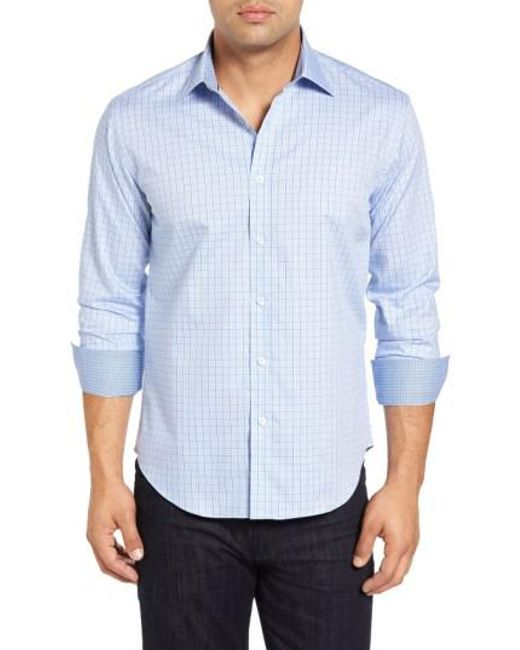 Bugatchi | Blue Shaped Fit Tattersall Sport Shirt for Men | Lyst