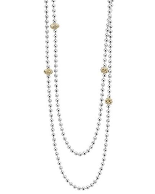 Lagos | Metallic 'caviar Icon' Strand Necklace | Lyst