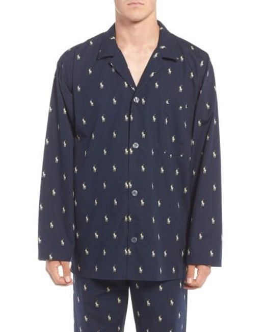 Polo Ralph Lauren   Blue 'polo Player' Embroidered Pajama Top for Men   Lyst