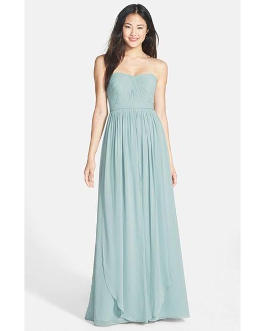 Jenny Yoo   Blue 'aidan' Convertible Strapless Chiffon Gown   Lyst