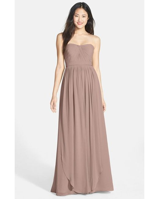 Jenny Yoo | Brown 'aidan' Convertible Strapless Chiffon Gown | Lyst