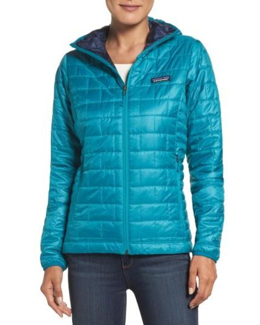Patagonia | Blue Nano Puff Hooded Water Resistant Jacket | Lyst