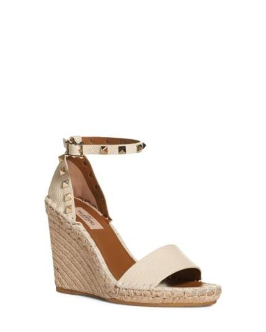3a8c5922338 Valentino  rockstud  Espadrille Wedge in White - Save 5%