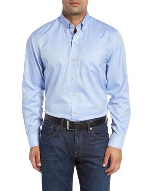 Cutter & Buck | Blue 'san Juan' Classic Fit Wrinkle Free Solid Sport Shirt for Men | Lyst