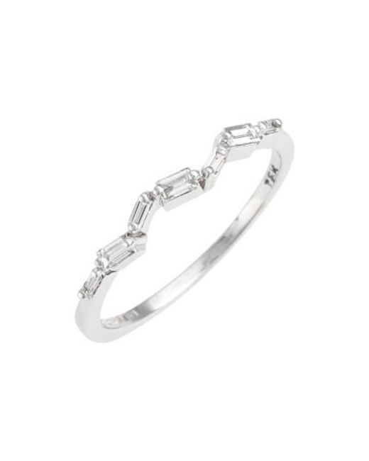 Suzanne Kalan | White Thin Baguette Stacking Band Ring | Lyst