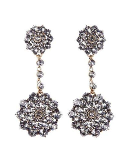 Oscar de la Renta | Black 'classic Jeweled' Swarovski Crystal Drop Earrings | Lyst