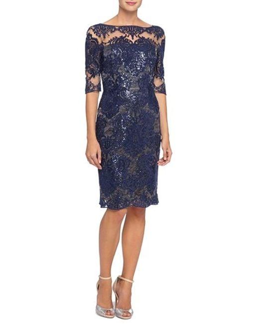 Tahari Sequin Lace Sheath Dress In Blue Lyst