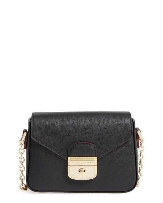 Longchamp   Black Small Le Pliage Heritage Leather Crossbody Bag   Lyst