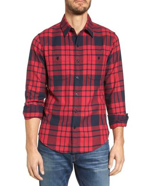 Bonobos slim fit plaid flannel shirt in red for men lyst for Mens slim fit flannel shirt