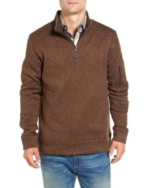 Jeremiah | Brown Lance Herringbone Zip Mock Neck Sweater for Men | Lyst
