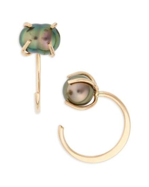 Melissa Joy Manning | Metallic Tahitian Pearl Hoop Earrings | Lyst