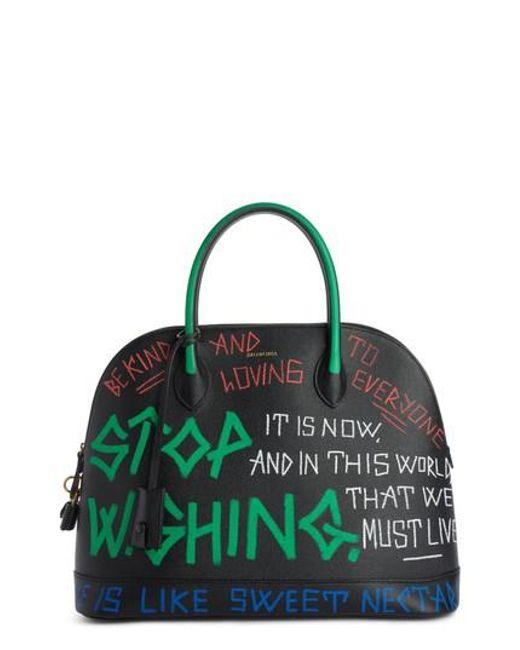Balenciaga - Green Medium Graffiti Calfskin Leather Dome Satchel - - Lyst