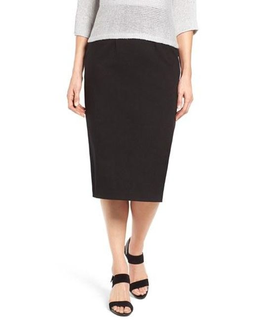 eileen fisher calf length pencil skirt in black lyst