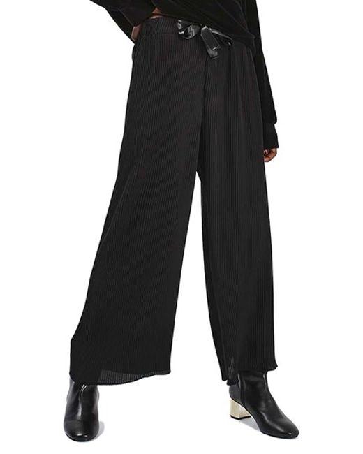 TOPSHOP   Black Ribbon Drawstring Plisse Trousers   Lyst