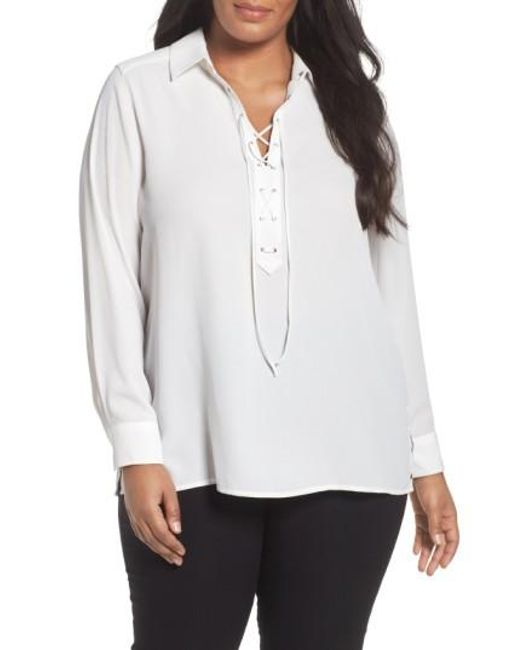 Foxcroft | White Lace-up Blouse | Lyst