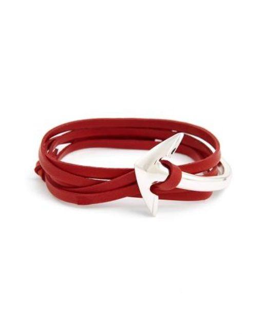 Miansai | Red Half Cuff Anchor Leather Wrap Bracelet | Lyst
