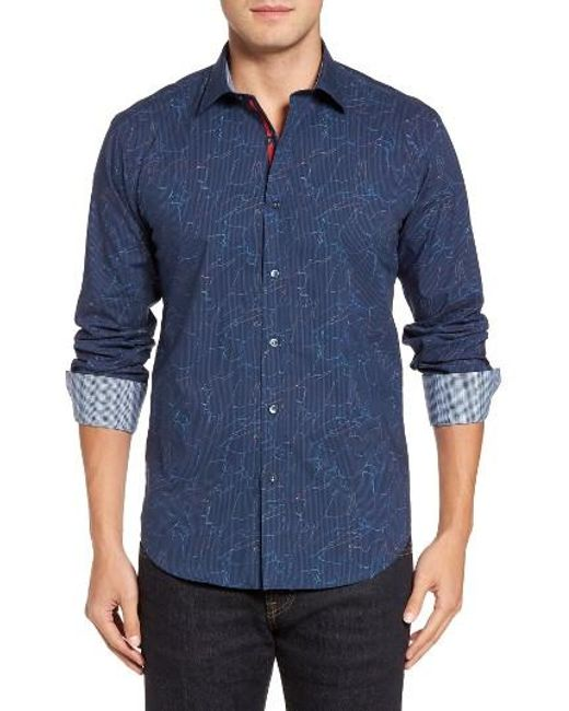Bugatchi   Blue Shaped Fit Layered Print Sport Shirt for Men   Lyst