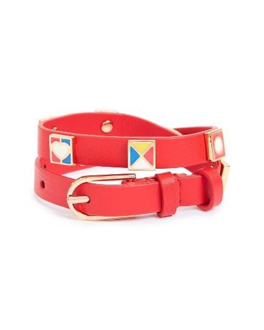 Tory Burch | Red Flag Leather Wrap Bracelet | Lyst