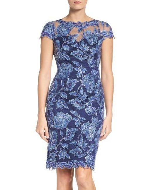 Tadashi Shoji | Blue Embroidered Mesh Sheath Dress | Lyst