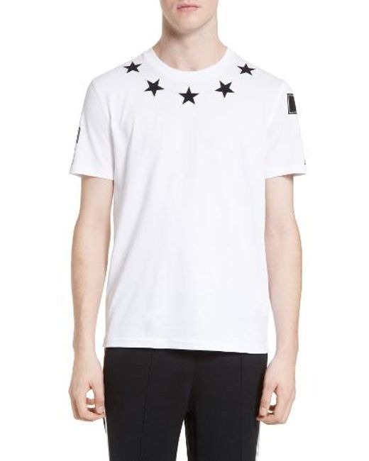 Givenchy | White Star Embroirdered T-shirt for Men | Lyst