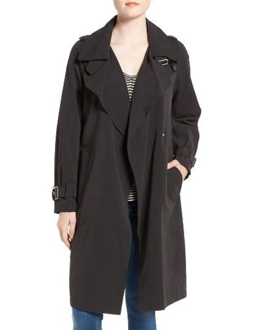 French Connection | Black Drape Front Trench Coat | Lyst
