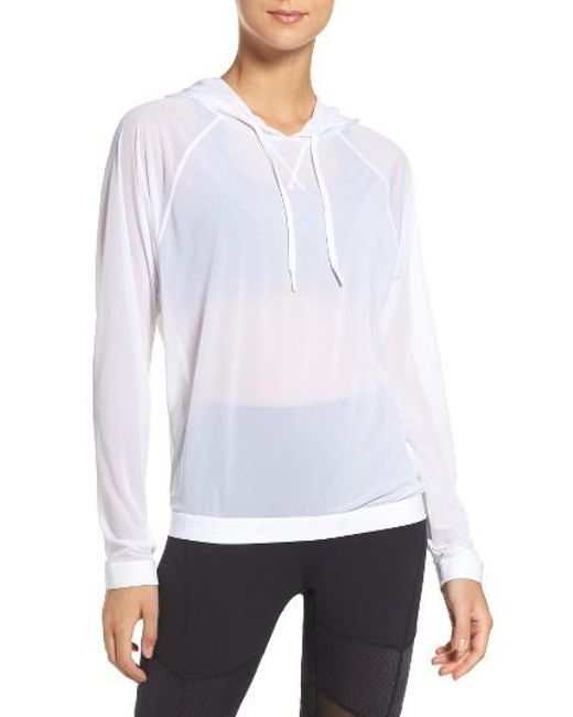 Zella | White Innovate Sheer Water Repellent Hoodie | Lyst
