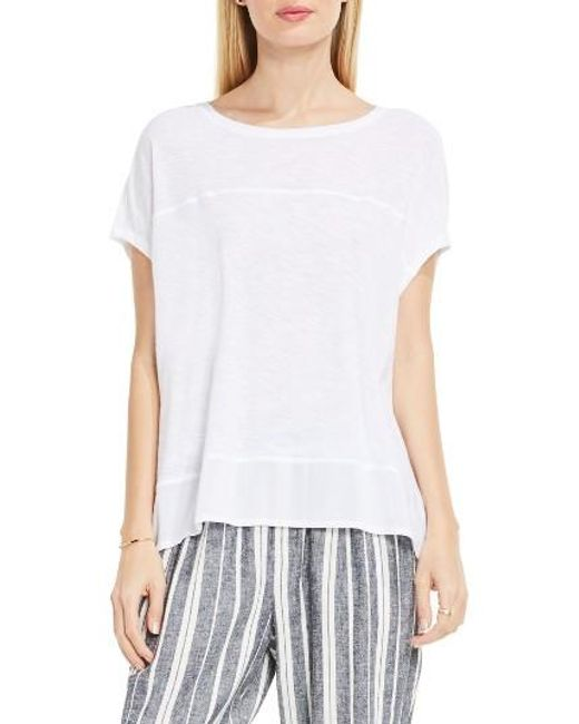Two By Vince Camuto | White Chiffon High/low Hem Knit Tee | Lyst