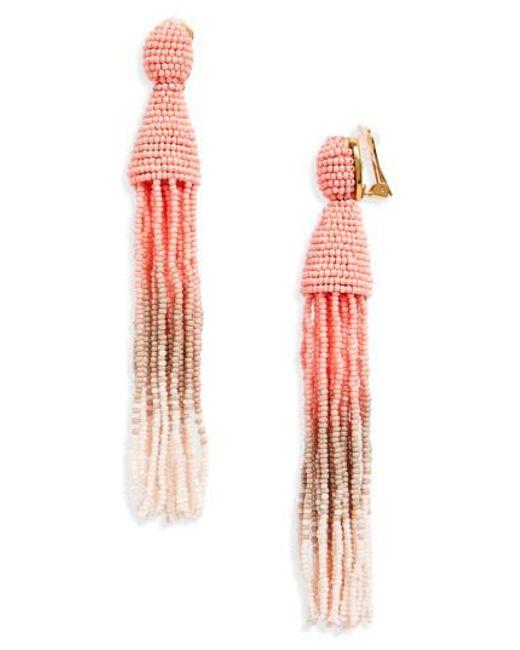 Oscar de la Renta | Pink Ombre Long Tassel Clip Earrings | Lyst
