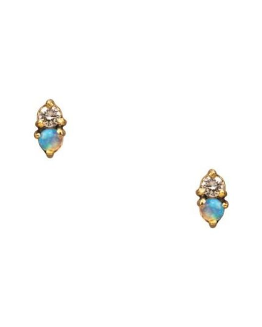 Wwake   Metallic Counting Collection Two Step Opal & Diamond Stud Earrings   Lyst