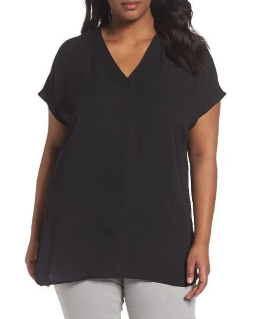 Sejour | Black Short Sleeve V-neck Tunic Top | Lyst