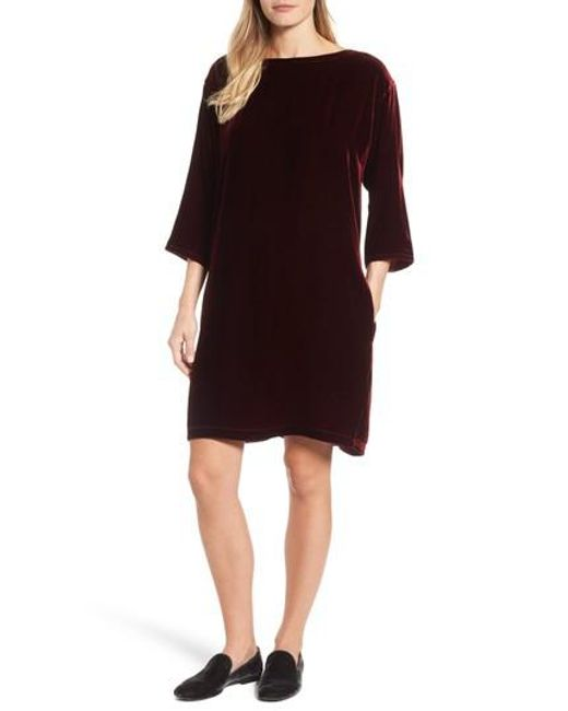 Eileen Fisher | Purple Velvet Bateau Neck Shift Dress | Lyst