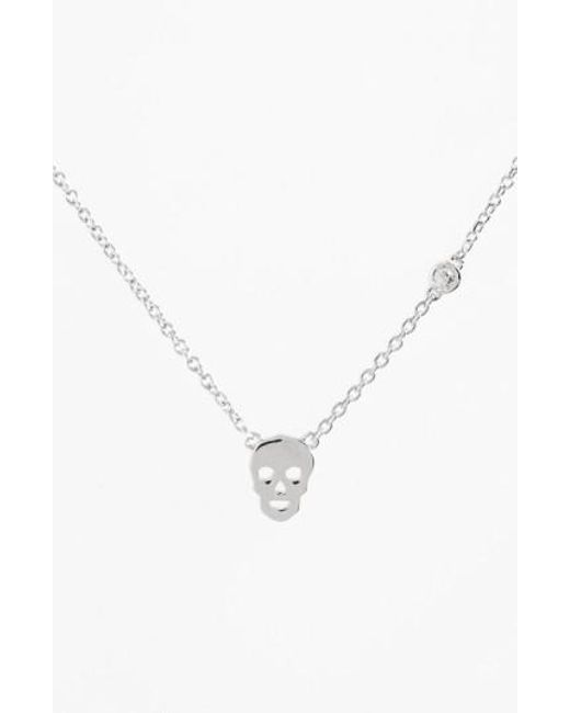Shy By Sydney Evan - Metallic Skull Necklace - Lyst