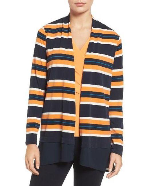 Chaus | Blue Colorblock Striped Cardigan | Lyst