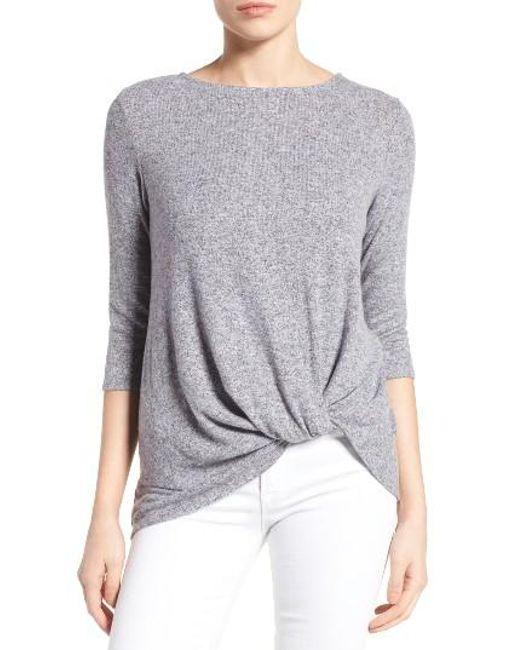 Gibson | Gray Twist Front Cozy Fleece Pullover | Lyst