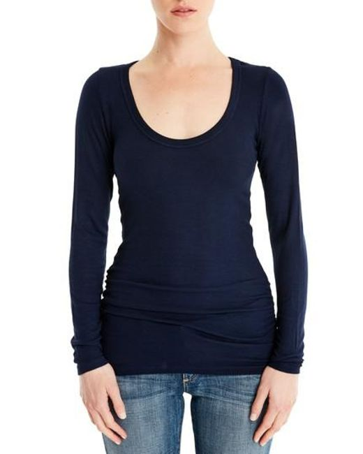 Michael Stars | Blue Shirred Long Sleeve Tee | Lyst